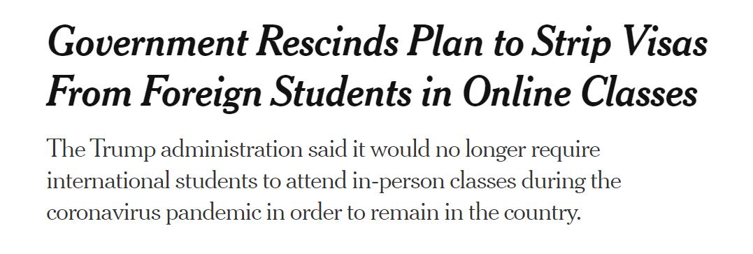 认怂!哈佛Battle完胜!移民局撤销新政,全网课不会被遣返
